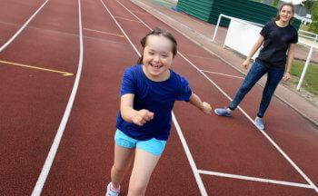 girl on track happy